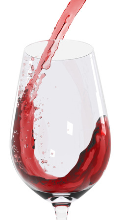 3D graphic illustration of pouring a glass of red wine over white background