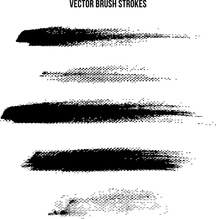 black and white brush strokes on canvas Vectores