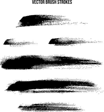 Black and white vector brush strokes on canvas over white background