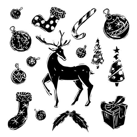 Kerstversieringen met rendieren in zwart en wit Stock Illustratie