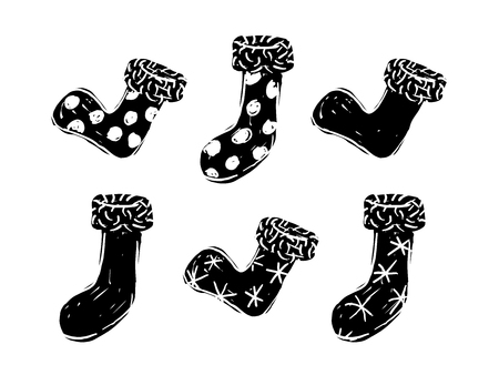 Christmas stocking black and white over white background Ilustração