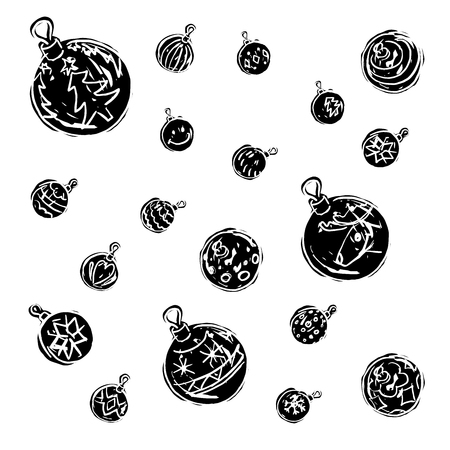 Christmas decorations black and white on white background. Çizim