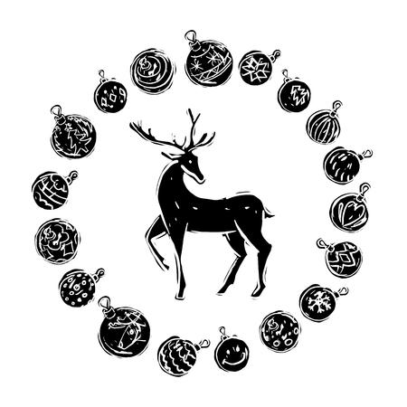 Kerstmisdecoratie met rendier zwart-wit op witte achtergrond.