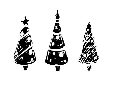 Kerstbomen zwart-wit op witte achtergrond. Stock Illustratie