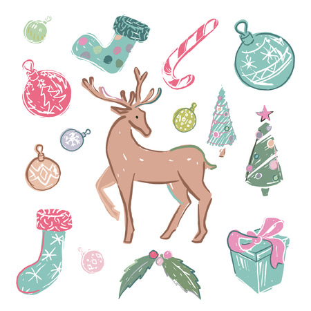 Set of colored christmas elements over white background