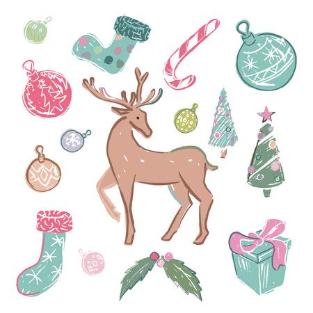 Set gekleurde kerst elementen op witte achtergrond Stock Illustratie