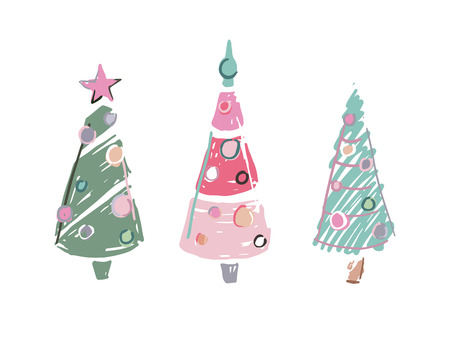 Three cartoon scribble colored christmas trees over white background