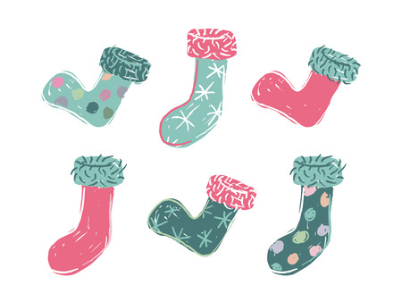 Six cartoon colored christmas stocking over white background