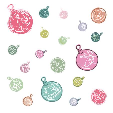 Cartoon gekleurde kerstbal decoraties Stock Illustratie