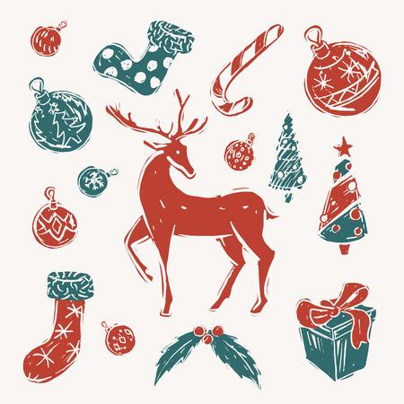 Set van rode en groene kerst elementen