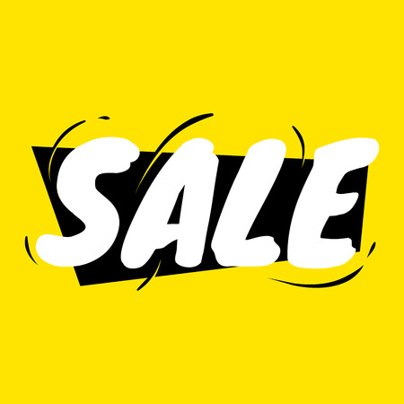 Cool sale typography design for banner advertising over yellow background