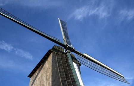 flanders: Wooden windmill in Belgium,Flanders  Stock Photo