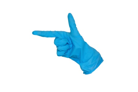 A rubber glove is forming a gun