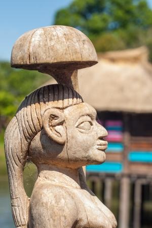african handcraft wood carved people figures Stock Photo