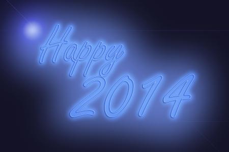 caligraphic: Happy new year 2014 neon lights