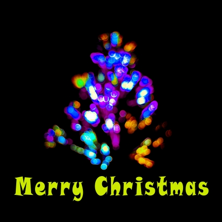 Merry Christmas card with fir tree and LED lights