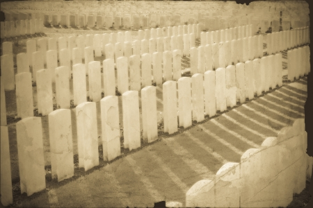ypres: vintage photo of Tyne Cot Cemetery in Ypres world war belgium flanders