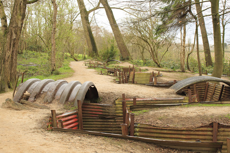 trenches: trenches of the First World War battlefield belgium Stock Photo