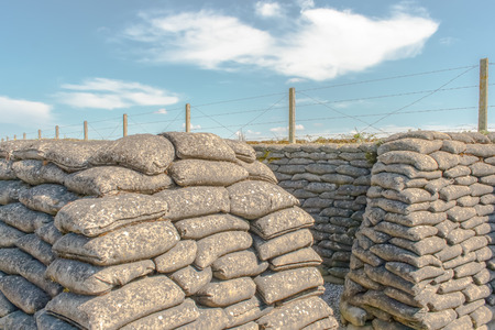 trenches: sandbags Trenches of Death in Dixmude flanders Belgium great world war 1