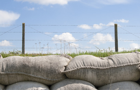 sandbags and barbed wire world war 1 Flanders Belgium photo