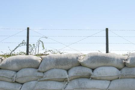 sandbag: sandbags and barbed wire world war 1 Flanders Belgium