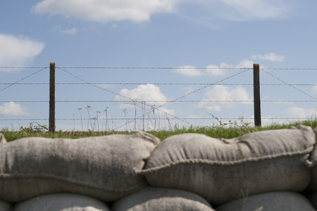 trenches: trenches with barbed wire and sandbags world war one Stock Photo