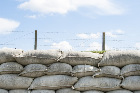 sandbag: Trenches of death WW1 sandbag flanders fields Belgium