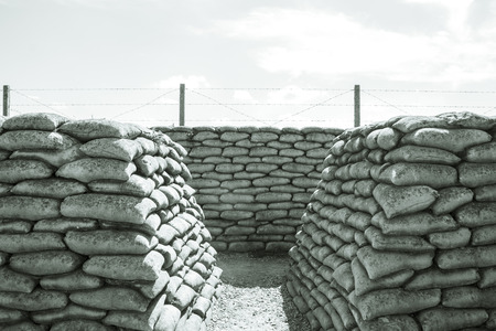world war one: Trench of death sandbags world war one