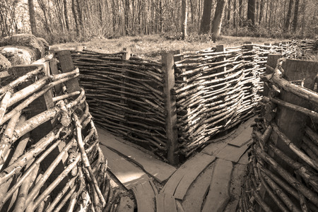 sandbag: german trench world war one flanders fields