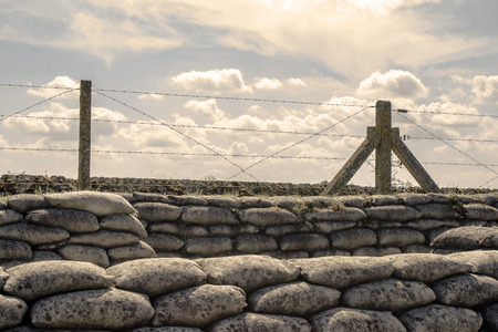 Trenches of world war one sandbags in Belgium photo
