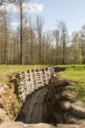 German trench of world war in the forest photo