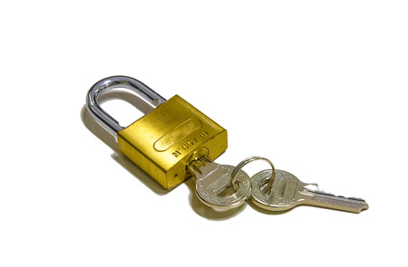 Padlock with Key in Brass and Steel Stock Photo