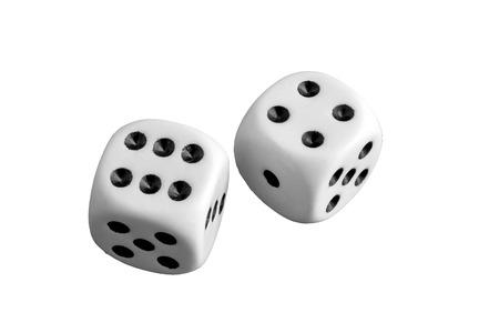 Two white dice gamble on a background Stok Fotoğraf