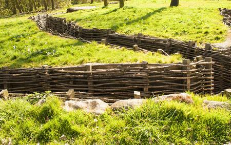 sandbag: Bayernwald wooden trench of world war 1 Stock Photo