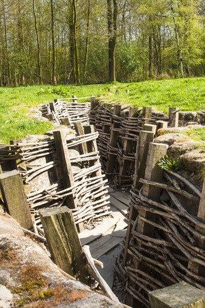 ypres: Bayernwald wooden trench of world war 1 Stock Photo