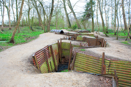 first australians: world war one trenches on hill in flanders fields Belgium Stock Photo