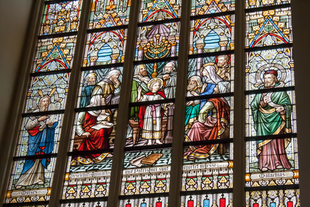 liturgical: Stained glass window church Belgium Flanders Bruges