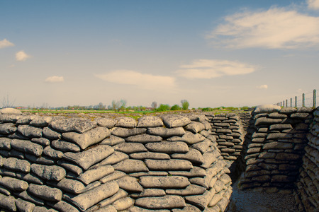 first australians: Trenches of world war one sandbags in Belgium