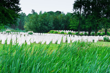 first australians: Bedford House Cemetery in a green area ypres