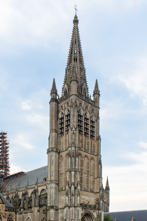 ypres: The Cathedral tower in Ypres flander Belgium