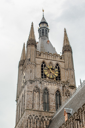 ypres: The tower of Ypres Cloth Hall Flanders Belgium