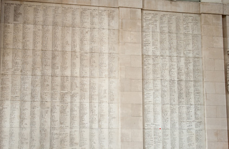 ypres: Ypres Menin gate memorial showing names of falling soldiers  Stock Photo