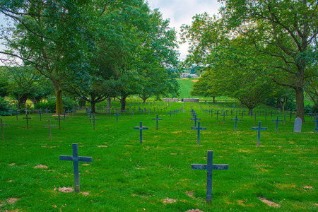 a memorial to fallen soldiers: German cemetery of world war one in France