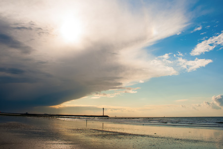 Heavy cloud cover moves from the coast to inland Stock Photo