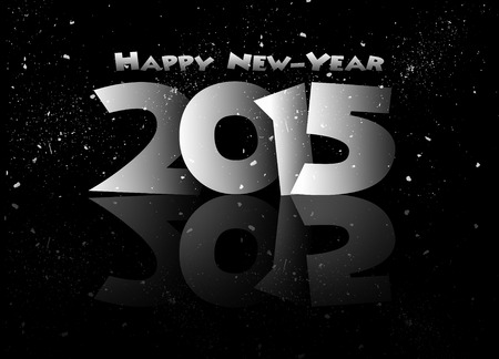 mirrored: Happy new year 2015 mirrored in black