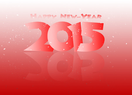 Happy new year red with snow 2015 Stock Photo