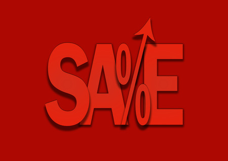 to go up: Sales go up red price percent arrow Stock Photo