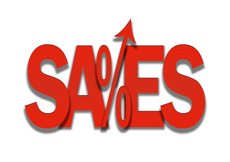 to go up: Sales go up red price discount in percent background