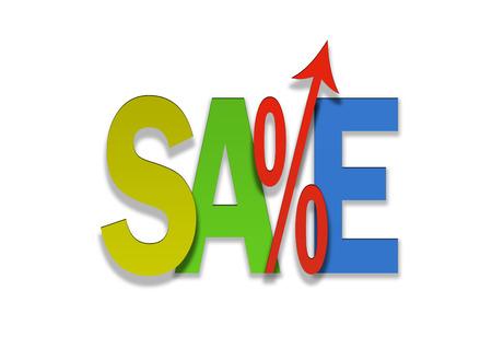 to go up: Sales go up coloured price percent arrow Stock Photo