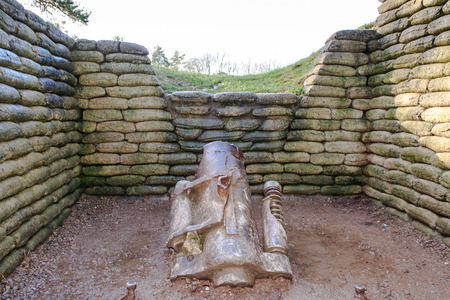 trenches: The trenches and canon on battlefield of Vimy ridge France